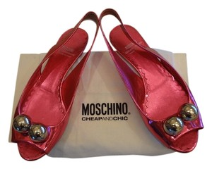 Moschino Leather Balls Italian Red Sandals