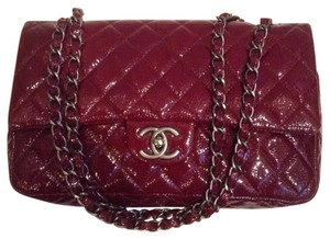 3f7bd1b1895a31 Chanel 2.55 Reissue Double Flap L Classic Quilted Medium M/L A39336  Burgundy Red Patent Leather Shoulder Bag