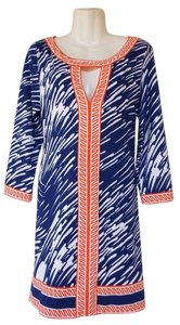 Tracy Negoshian short dress blue, orange, white Keyhole Tailgate And on Tradesy