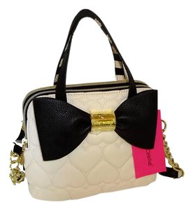 Betsey Johnson Small Striped Cross Body Satchel in black/bone