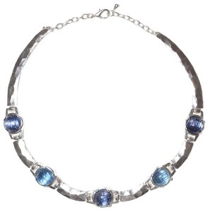 Other Sterling Silver Plated Pewter Hammered Gypsy Pewter Resin Collar Necklace