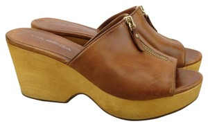Via Spiga Leather Wood Zipper Mule Clog Tan Wedges