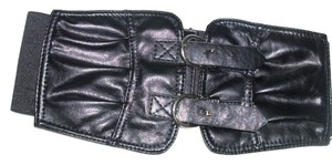 Huge black corset style wide leather like stretch belt with metal buckle closure double straps