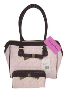 Betsey Johnson Quilted Heart Matching Wallet Satchel in Blush