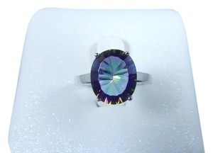 Mystic Elegant Oval shape 12x10mm Starburst cut Mystic quartz ring in Prong Setting Drawbacks Sterling Silver
