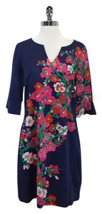 Lilly Pulitzer short dress Navy 3/4 Sleeve Floral Cotton on Tradesy