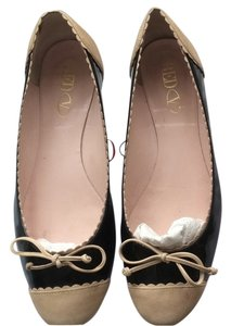 RED Valentino Black Patent/tan Flats