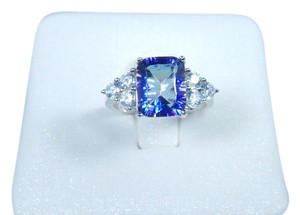 Mystic Classy Emerald cut shape 12x10mm Starburst cut Mystic blue quartz Ring Cubic Zirconia in Three-Stone Setting Sterling Silver