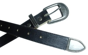 Other Traditional classic black belt with metal buckle closure and embellished imprinted animal leopard print