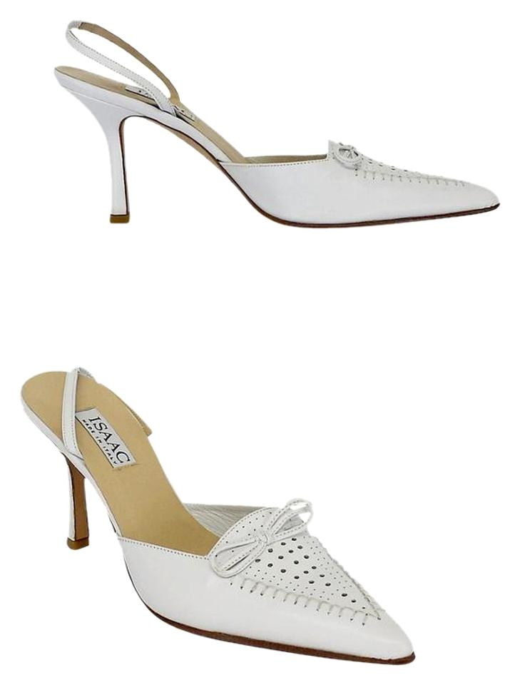 Isaac Mizrahi White Leather Pointed Pointed Pointed Toe Slingback Heels Sandals 7af6db