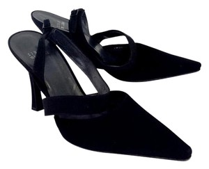 Stuart Weitzman Black Suede Pointed Toe Slingbacks Sandals