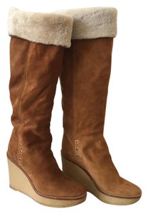 Saint Laurent Suede Shearling Ysl Knee-high Tan Boots