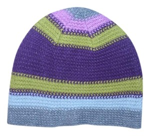 New York & Company Very cute multi color stripe knit cap hat has grey purple pink chartreuse silver metallic lurex threads small