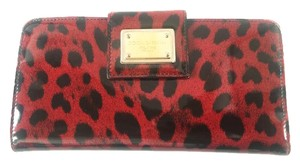 Dolce&Gabbana DOLCE & GABBANA LEOPARD PRINT PATENT LEATHER WALLET RED