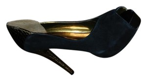 Guess Suede Gold Open Toe Black Platforms