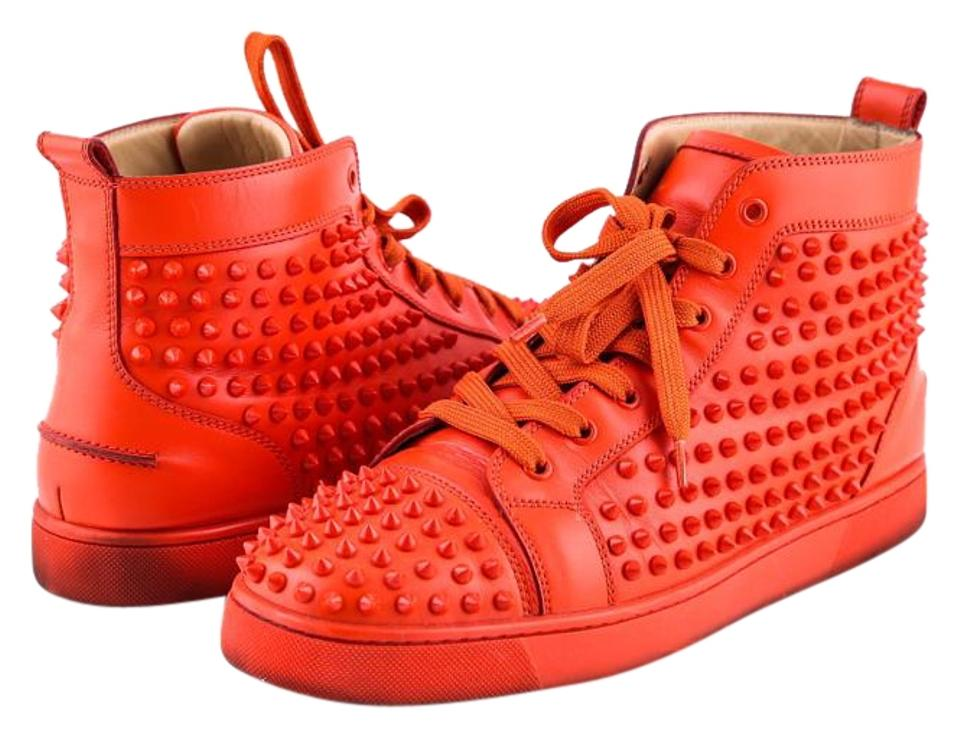 c024b505589 Christian Louboutin Red Men's Louis Flat Leather Sneakers Boots/Booties  Size US 12 Regular (M, B) 39% off retail