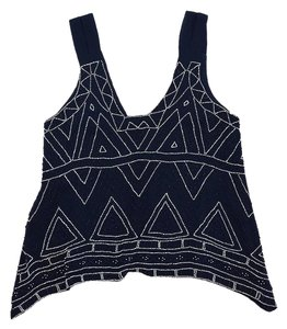 Parker Navy & White Beaded Tribal Print Top