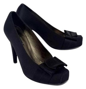 Claudia Ciuti Black Satin Square Toe Bow Pumps