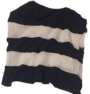 Lucca Couture Mesh Knitted Striped Crop T Shirt black