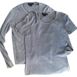 Ann Taylor Shirt Combo Set Dusty Grey Silk Small Medium Knit Longsleeve Shortsleeve Sweater Lot Cardigan