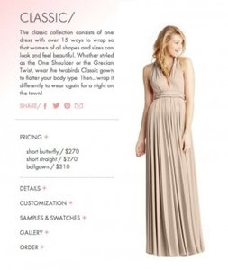 Twobirds Oyster Poly/Jersey Blend Classic Ballgown Traditional Bridesmaid/Mob Dress Size OS (one size)
