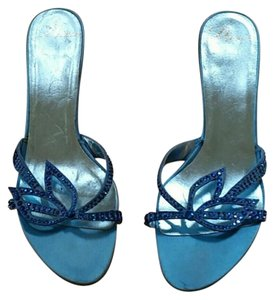 Delman Fabric Rhinestones Ocean Blue Sandals