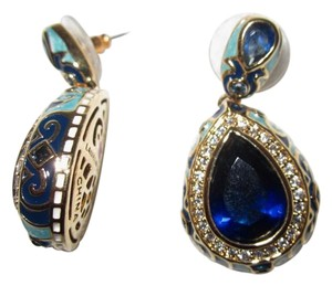 Lauren G Adams New Blue Sapphire CZ Enamel Teardrop 18kt GP Post Dangle Earrings