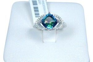 9.2.5 Stunning Cushion shape Mystic blue quartz Ring Set Sterling Silver