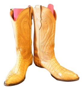 Larry Mahan Leather Alligator Blonde Boots