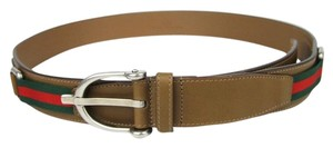 Gucci NEW GUCCI Mens Brown Leather Belt with Spur Buckle and Signature Web 309257 2566 110/44