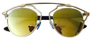 Dior So Real 48mm Silver Mirrored Sunglasses Gold/Crystal/Black