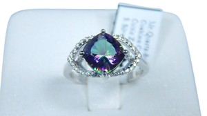 9.2.5 Classy Cushion shape Mystic quartz Ring Sterling Silver