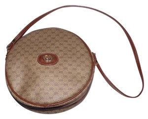Gucci Small Logo Unique Round Shape High-end Bohemian 1970's To 80's Leather/canvas Shoulder Bag