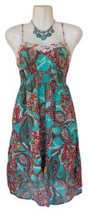 Xhilaration short dress teal, white, yellow, pink, burgundy High Low Paisley Floral Stretchy on Tradesy
