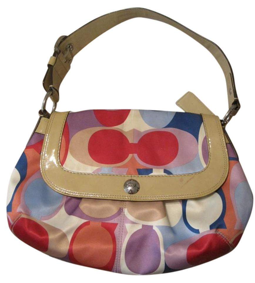 4273774327 Coach Signature Fabric Handbag Purse with Tan Patent Leather Multi ...