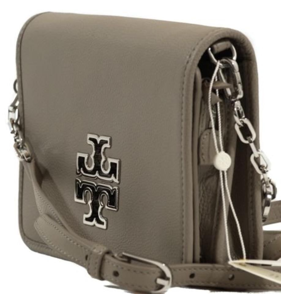 57974ee5c4df8 Tory Burch Britten Combo French Gray Leather Cross Body Bag - Tradesy