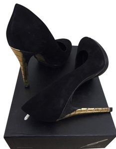 B Brian Atwood Suede Leather Black and Gold Suede/Crocodile Platforms