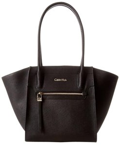 Calvin Klein Pebbled Leather Tote in Black