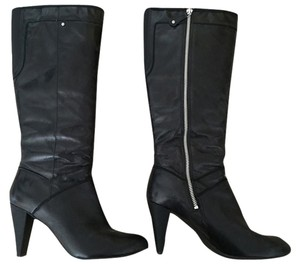 Rockport Leather High Heel Silver Hardware Black Boots
