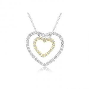 unknown 1/8 Carat Diamond Double Heart Sterling Silver Pendant w/ Inner Gold Plated Heart