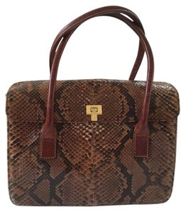 Lambertson Truex Satchel in Brown Snakeskin