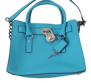cd348237e3b3 Michael Kors Lock And Key Satchel in Turquoise Silver Tone Hardware