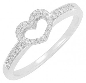 unknown Diamond Accent Sterling Silver Open Heart Ring