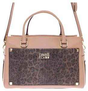 Roberto Cavalli Satchel in Beige and brown with Gold metal detailing