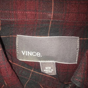Vince (Mens) Button Down Shirt Navy, maroon
