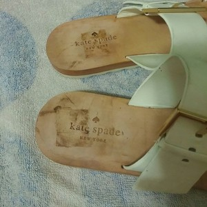 Kate Spade Attitude Leather Adjustable White and Silver Sandals