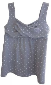 Ann Taylor Top Gray with white polka dots