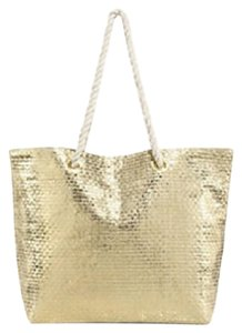 Saks Fifth Avenue Purse Carry On Travel Tote in Gold Bag With White Handles