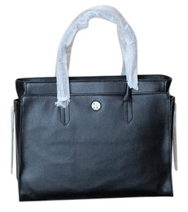 Tory Burch Leather Roomy Tassels Tote in Black