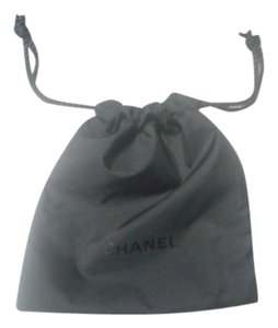 Chanel CHANEL Black Drawstring Logo Cosmetics Makeup Pouch